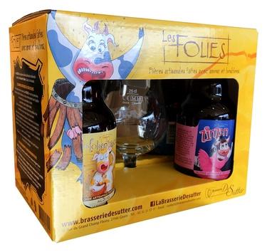 Biere France Normandie Coffret Les Folies De Sutter 4x33cl  1 Verre 6.45%